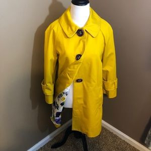 Kate Spade coat S yellow with purple buttons